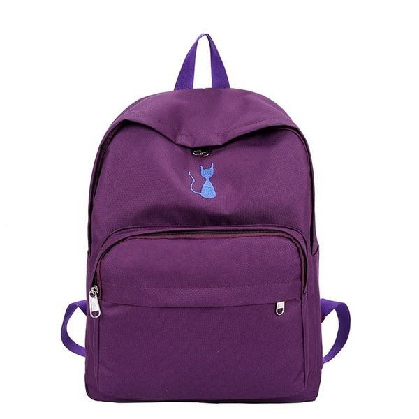 2019 new beautiful girl Korean version of the school bag light embroidery shoulder bag student cute cat backpack