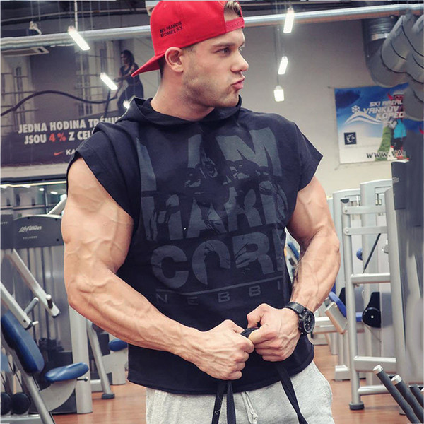 Sport Man t-shirt Running Joggets Men Sweatshirt Gym Fitness Bodybuilding Sleeveless Undershirt Mens Stringer Singlets Hooded