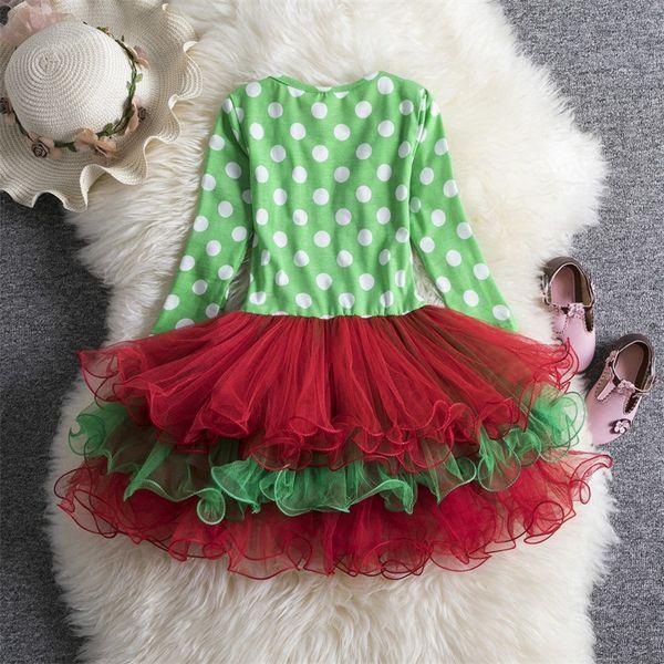 Xmas Chirstmas Red Green Polka Dots Newborn Baby Pettiskirt Skirt Dress 3-12M