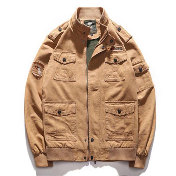 Escudo Uniforme para hombre del estilo europeo del bordado militar Multi-bolsillo de la chaqueta del otoño del resorte chaquetas de algodón suave ajuste al aire libre