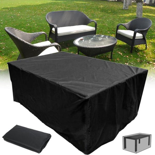 Muebles de jardín Inicio Cubierta de Lluvia Impermeable Oxford Mimbre Sofá Conjunto de Protección Jardín Patio Lluvia Nieve A Prueba de Polvo Cubiertas Negras