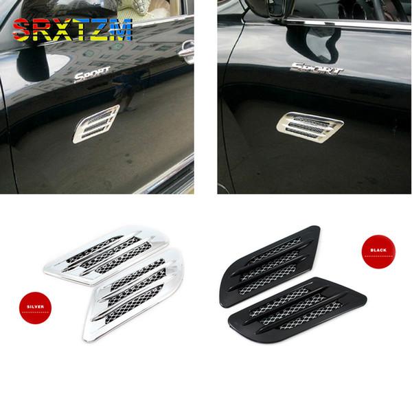 SRXTZM 2 unids 3D Shark Gill Side Air Vent Fender Cubrir Orificio de admisión Conducto de la rejilla Decoración de la parrilla Etiqueta Car Styling Negro Plata
