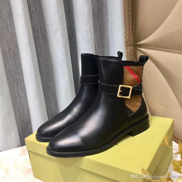 lujoseñoras de la manera de lujo de diseño zapatos casuales de tacón bajo las botas altas de cuero del remiendo del invierno mujeres de la moda y botas de trabajo el mejo