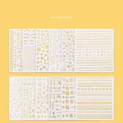 Hot popular INS nail art decal new moon star stars bee crescent line gold light treatment nail 3D decal