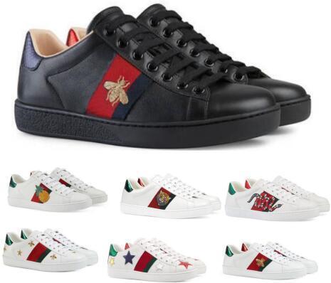 Lüks Tasarımcı Tekne Flats Loafers Rahat Ayakkabılar Sneakers Erkek Kadın Beyaz Düşük Hakiki Deri Python Kaplan Arı Çiçek Işlemeli Ayakkabı 35-45