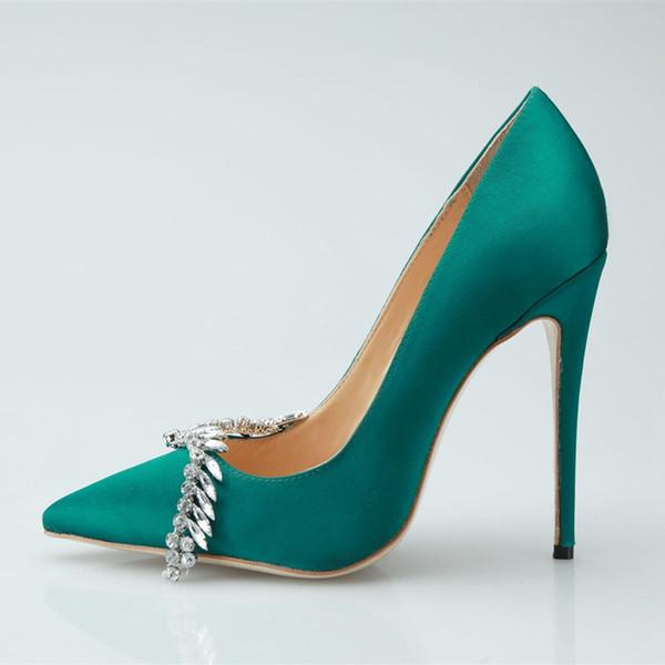 Neue Herbst Grüne Farbe Kristall Dekoration Sexy Pfennigabsatz Frauen Pumpt Mode High Heels Schuhe für Frauen Büro Kleid Schuhe