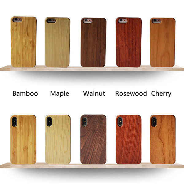 Eco-friendly Natural Wood Bamboo Cell Phone Cases Lightweight PC Snap-on Bumper Cases Slim Hybrid Back Covers for iPhone and Samsung Galaxy