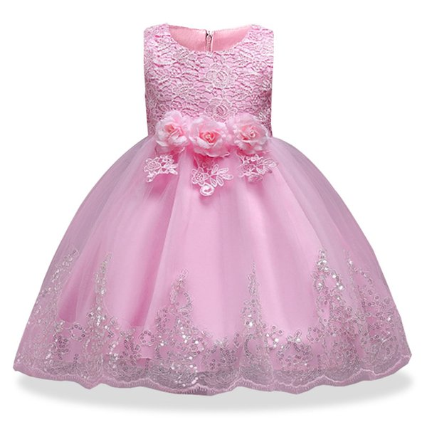 Baby Flower Girl Dresses Infant Toddler Birthday Party Pageant Dresses Blush Pink Rose Sequins Bow Lace Crew Neck Tea Length Tutu Wedding