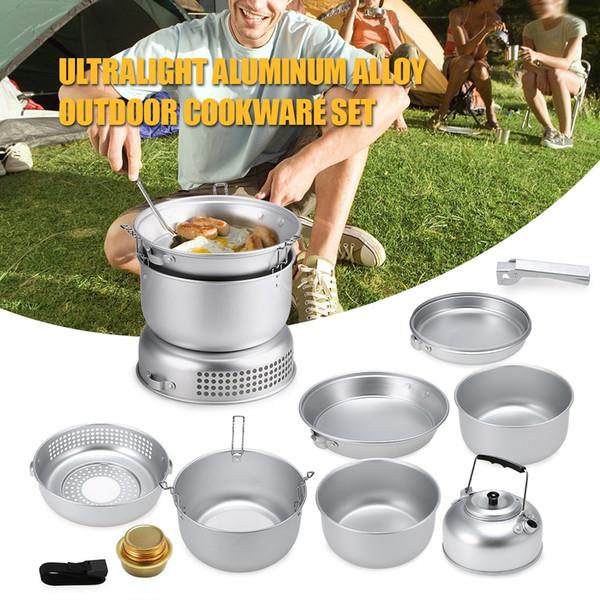 10 PCS camping en plein air Set de cuisine Plaque vaisselle Casseroles Cookout Ustensile Portable Pots Bouilloire alcool Cuisinière Vent Bouclier