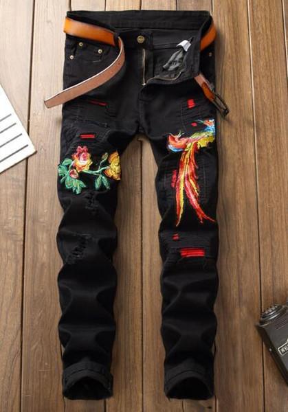 Großhandels-italienische Luxus Bestickte Jeans 2019 Neue Designer Herren Jeans Berühmte Marke Slim Fit Herren Printed Jeans Biker Denim Pants