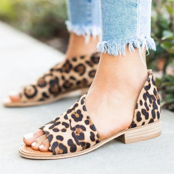 Mujeres 2019 zapatos de verano para mujer sandalias planas para el lado del leopardo de la playa ahueca hacia fuera el flip-flop casual Chaussures Femme Plus tamaño 43