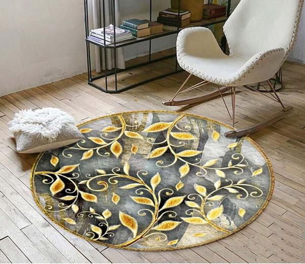 Benutzerdefinierte 3D Boden Aufkleber Gold Rebe abstrakte Runde Badezimmer Schlafzimmer Vinyl Boden Wandbild PVC wasserdichte Tapete Malerei moderne
