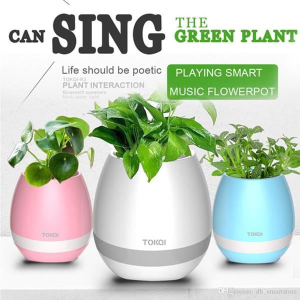 Nouvelle arrivée intelligente Mini pot de fleur en plastique coloré léger Bluetooth haut-parleur plante de pots de fleurs décoration avec batterie intégrée