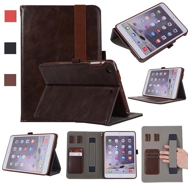 Classic Half Genuine Leather ipad Case For iPad Mini 1 2 3 PRO 12.9 Shockproof PU Leather Tablet Case