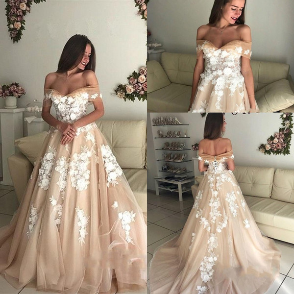 Designer Off-the-Shoulder Long Wedding Dresses Champagne 2019 Tulle Lace-Up Bridal Gowns Plus Size Custom Made Wedding Dress BC1061
