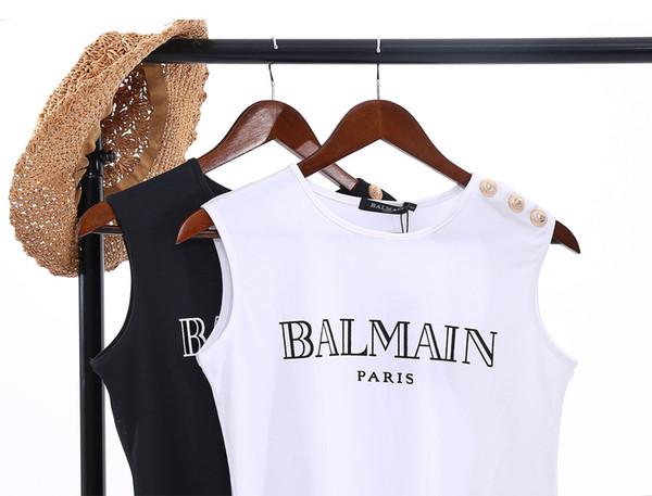 Nuovo design spalla spalla donna fibbia oro lettera stampa maglietta senza maniche in cotone girocollo canotte femminile