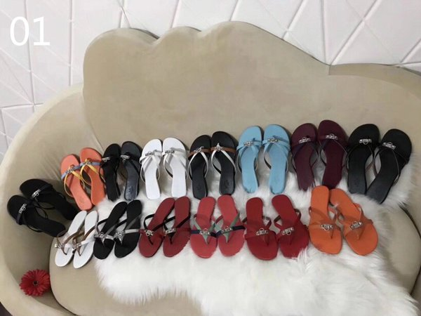 Luxury classic 2019 new summer ladies leather slippers beach shoes designer brand top production candy color Flip Flops 3A 056