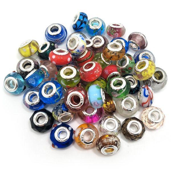 Brand New Mix Estilos De Vidro 925 stering cord grande buraco solto beads fit jóias pandora Europeia Diy pulseira encantos 50 pcs por lote