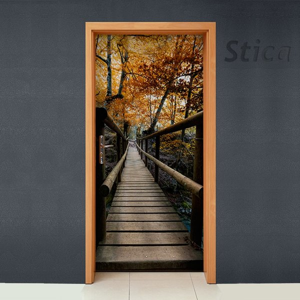 Free shipping DIY Door Sticker Autumn Forest Path door decals decorations for Bedroom Living Room wallpapers Decal home accessories