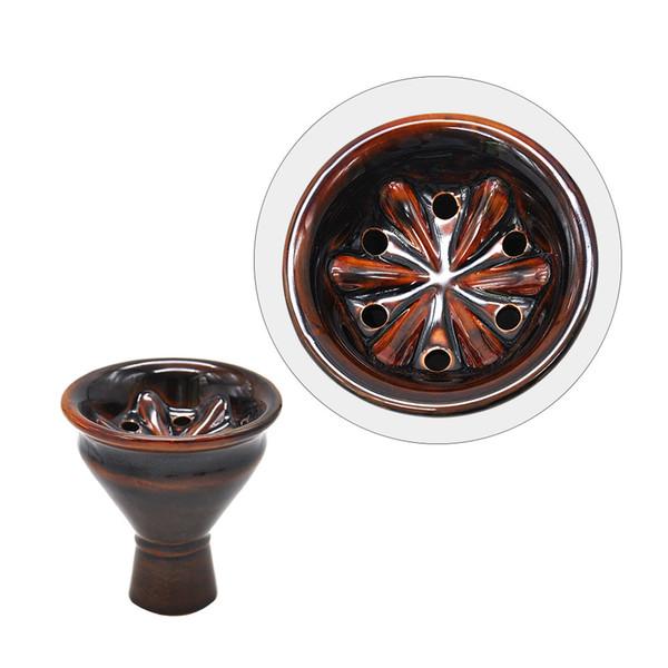 New Ceramic Head Shisha Hookah Bowl Arabic Hookah Accessories with Colored Glaze Smoke Pot Tobacco Bowl
