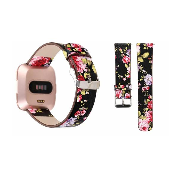 For Fitbit Versa Strap Bands Genuine Real Leather Flower Straps Band 22MM Bracelets With Adapter Smart watch band accessoires 25