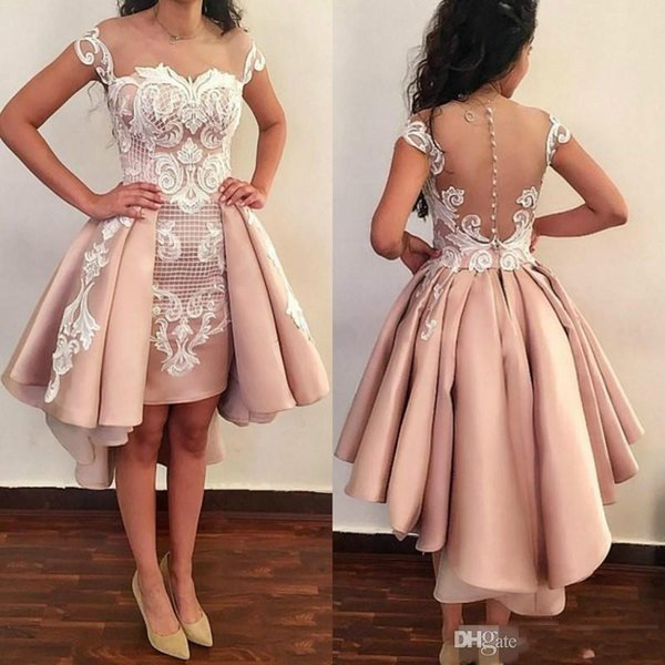 Fitted Blush Pink Short Prom Dresses With Overskirts Cap Sleeve White Lace Graduation Homecoming Dress Sexy transparent back Evening Party