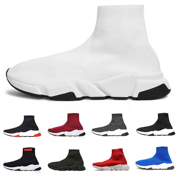 Großhandel Designer Speed Trainer Socke Laufen Freizeitschuhe Männer Frauen Schwarz Weiß Rot Blau Grau Günstige Luxus Mode Trainer Sport Sneaker Von