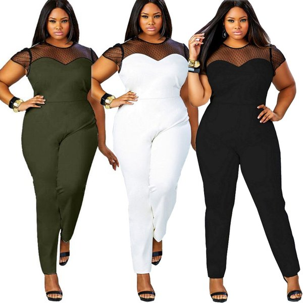 Lace Mesh Patchwork Short Sleeve Big Size Jumpsuits 2019 Summer Women O Neck Casual Slim Sexy Plus Size Stretchy Long Rompers