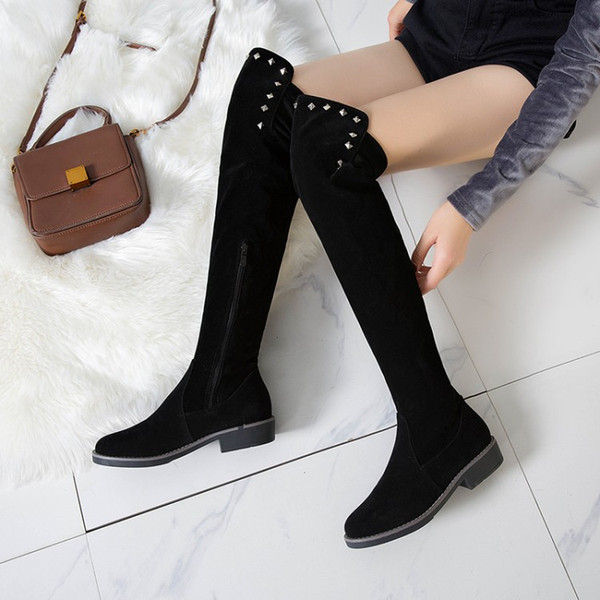 Big Size 9 10 11 12 thigh high knee high over the knee boots women ladies boots shoes woman winter boots women Wicker splice side zipper