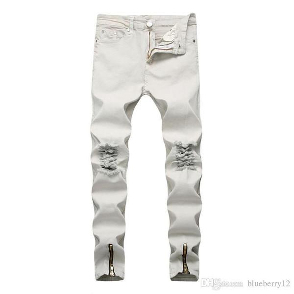 diseño de variedad hacer un pedido gran venta Compre Moda Jeans Blancos Para Hombres High Street Style Pantalones De  Mezclilla Rotos Skinny Pencil Jeans Con Cremallera Decorada Abriendo  Abrirse ...