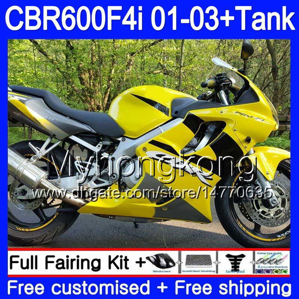 Body Hot yellow frame+Tank For HONDA CBR 600F4i CBR600FS CBR600F4i 01 02 03 286HM.47 CBR600 F4i 600 FS CBR 600 F4i 2001 2002 2003 Fairings