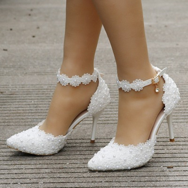 Pumps White Ankle Strap Rhinestone High Heels Women Wedding Shoes Lace Flowers High Heel Stiletto Pumps Party Shoes 01