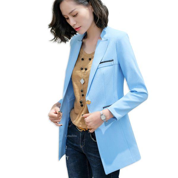 Women Long Jacket with Fake Watch Pocket Candy Color Blazer Fashion Work Wear Office Lady Coat Outwear