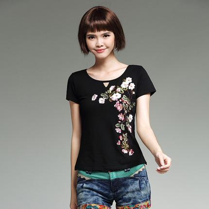 women ethnic shirt 2019 female autumn summer Mexico style original designer o neck black floral embroidery t shirt tee