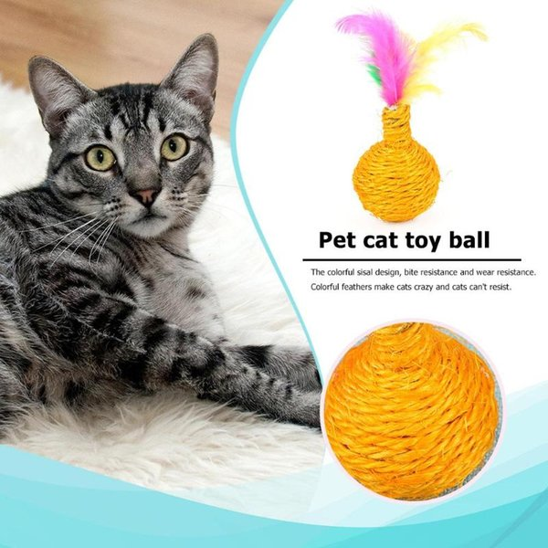 6pcs Sisal Rope Wear Resistant Feather Funny Playing Toys Pet Cat Supplies Interactive Cat Toys Play Chewing Rattle Scratch Ball