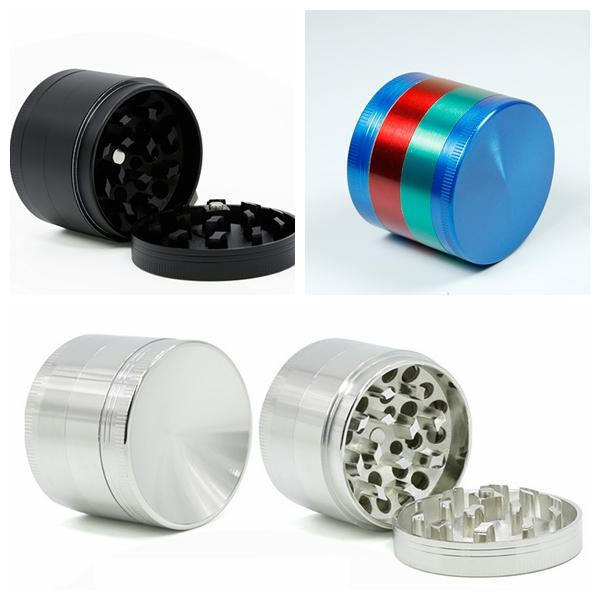 New Black Silver Colorful Herb grinder 55mm 4 layer electric metal ginder Zicn alloy Diameter Cheap pepper grinders for dry herb