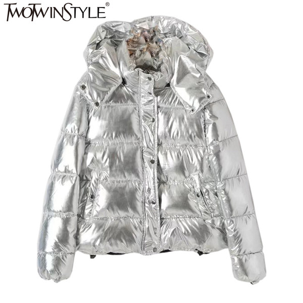 TWOTWINSTYLE Hooded Glossy Women Down Jacket 2017 Big Size Long Sleeve Casual Coat Solid Keep Warm Overcoat Fashion Clothing