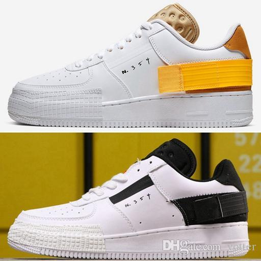 2019 New Type N.354 Utility 1s Gold White Black Mens Running Shoes Sports Skateboard Dunk One Forced Women Sneakers Des Chaussures Zapatos Men Shoes