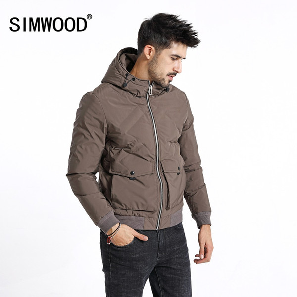 SIMWOOD Winter New Short Duck Down Jacket Men Slim Fit Hooded Coats Casual Parka Fashion High Quality Coat Male Clothes 180602