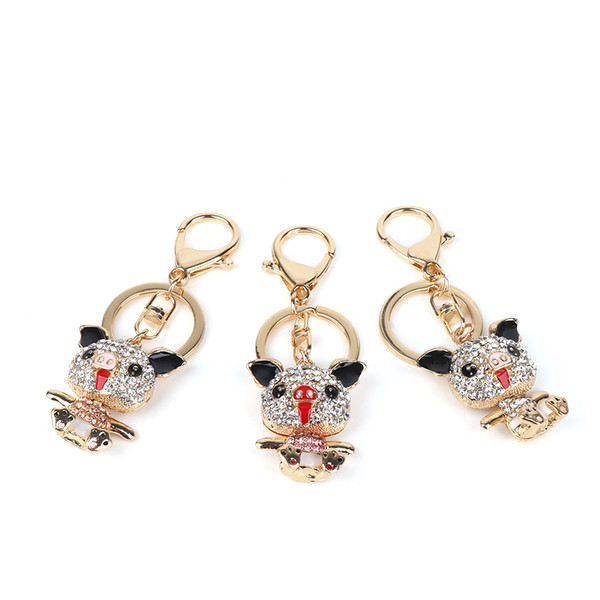 New 1pc Alloy Rhinestone Cute Pig Animal Handbag Pendant Keyring Key Chain Keyholder Fashion Women llaveros para mujer brelok
