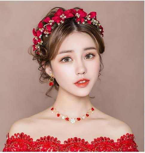 Bride's Headdress New Korean Mori Red Hair Ornament Fairy Hair Hoop Wedding Dress and Marriage Jewelry