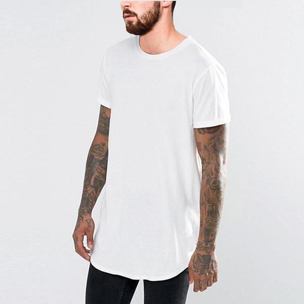 19SS Summer New T shirt Men Black White Long Tees Short Sleeved Curved Longline Tees