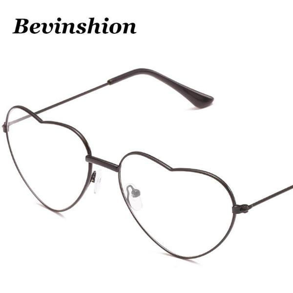 Coreia do vintage Óculos Limpar elegante do quadro das senhoras Óculos óculos de sol do coração Mulheres Sexy Retro optial Quadro forma do amor Casal Oculos