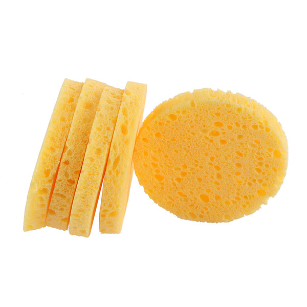 top popular 10pcs Facial Washing Sponge Natural Wood Pulp Sponge Cellulose Compress Cosmetic Puff Face Care Cleansing Makeup Remover Tools 2021