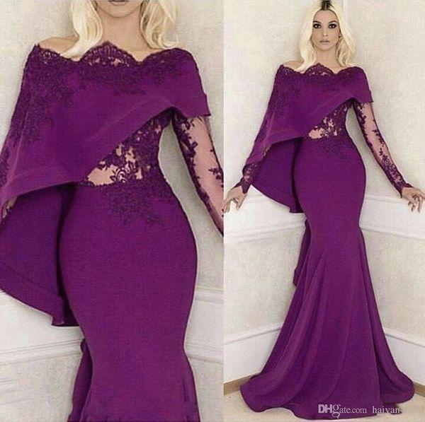 Cheap Purple Prom Dresses Mermaid Bateau Neck With Wrap Cape Off Shoulder Long Sleeves Lace Appliques Party Dress Evening Gowns Wear