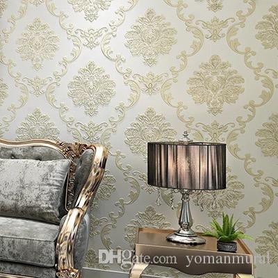 Großhandel Europäischer Luxus Moderne Tapeten Non Woven Wandwand Papiere  Rolle Golden Beige Wohnzimmer Sofa TV Hintergrund 10M 3D Wand Papier Von ...