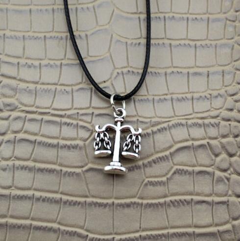 Libra Halskette Anhänger Schwarz Lederband Halskette Charme Tibet Silber Männer Frauen Schmuck Mode Freundschaft Geschenk Party Souvenir