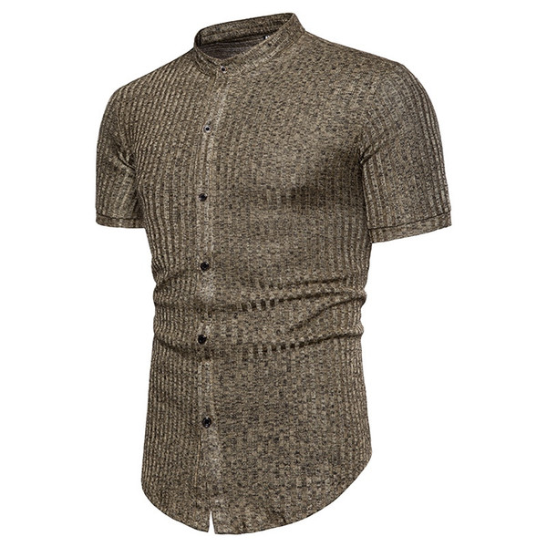 Men's Shirt African Style Stripe Design Jacquard-dyed Round Collar Short Sleeve Shirts Black Brown #388262