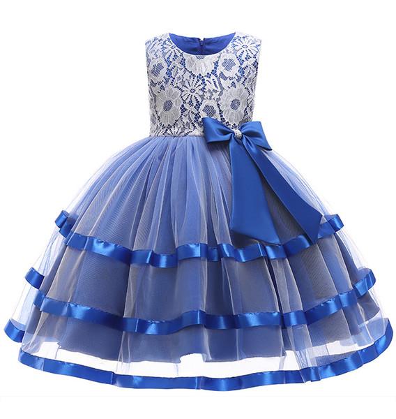 2019 New Flower Girls Dresses Kids Royal Blue Layered Tulle Party Wedding Ball Gown Formal Girls Dresses Bebe Vestido
