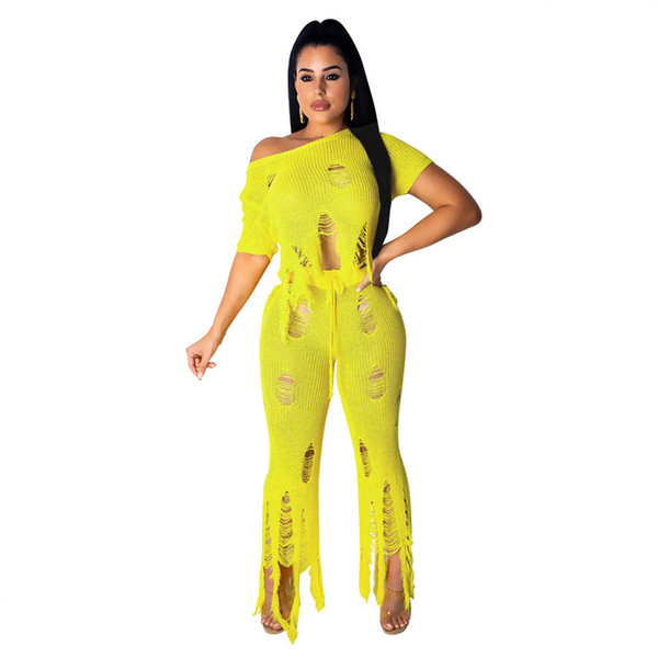 New women sets summer cut out tassel sweater short sleeve top wide leg pants suit two piece set fashion tracksuit outfit
